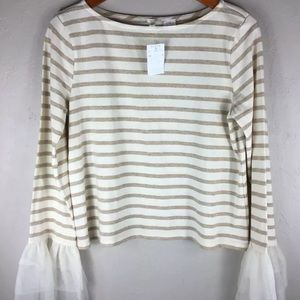 J.Crew | Gold White Stripe Blouse Top Ruffle Cuff